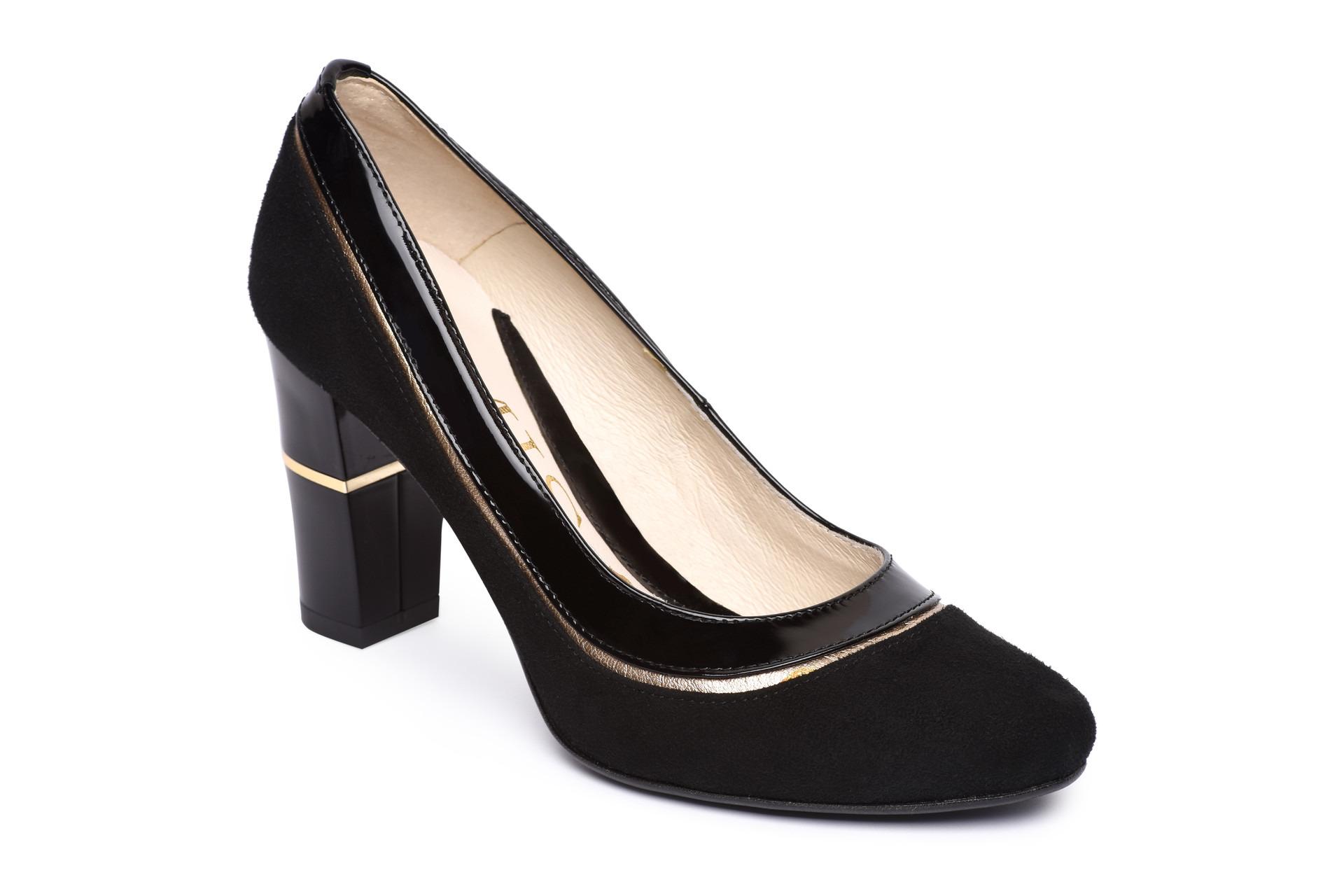 20cfed80301a GALLERY SHOES - Lodičky - Lodičky čierne nubukové s čiernozlatým ...