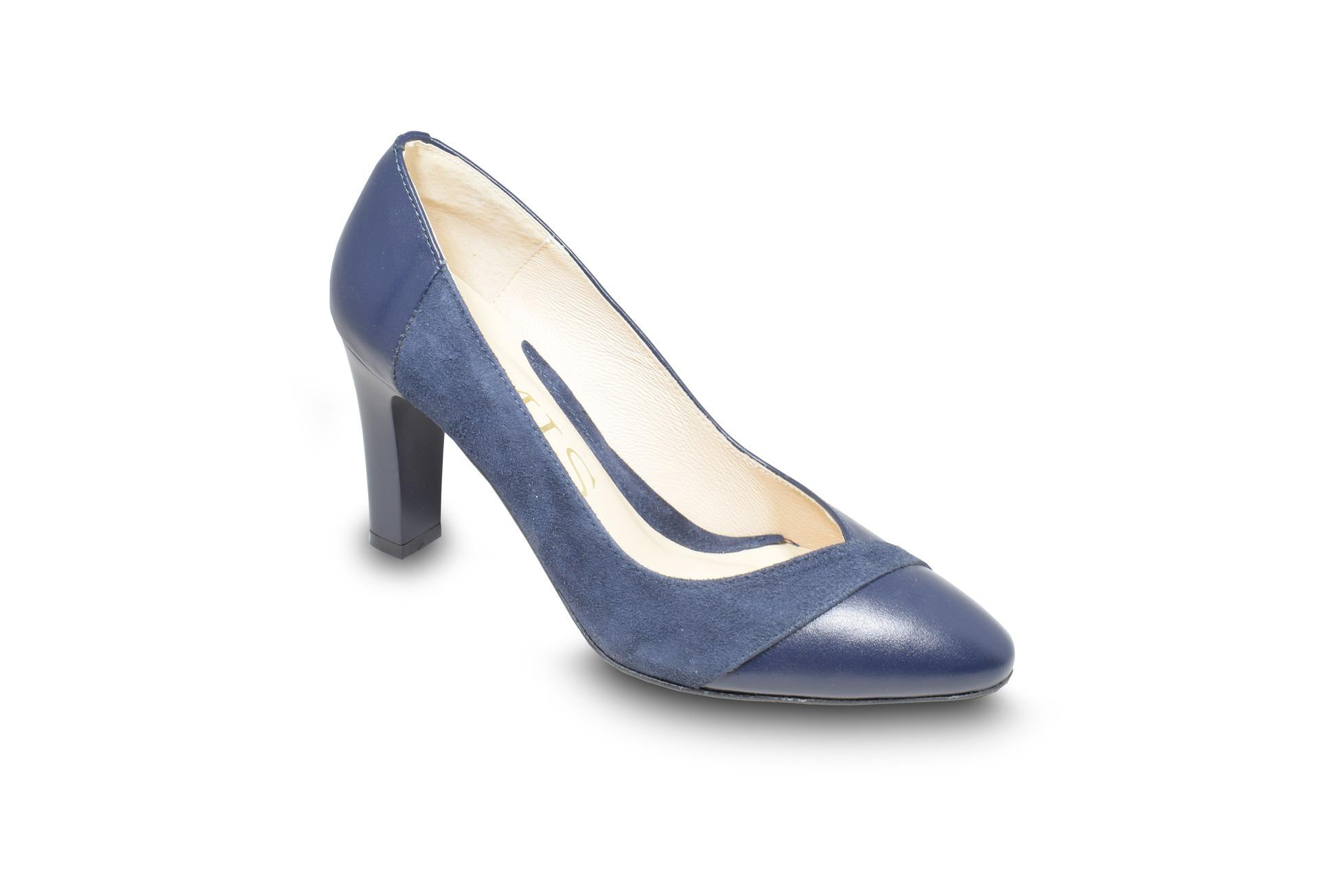 d8178cdc00 GALLERY SHOES - Lodičky - Pohodlné modré lodičky kombinovaná hladká ...