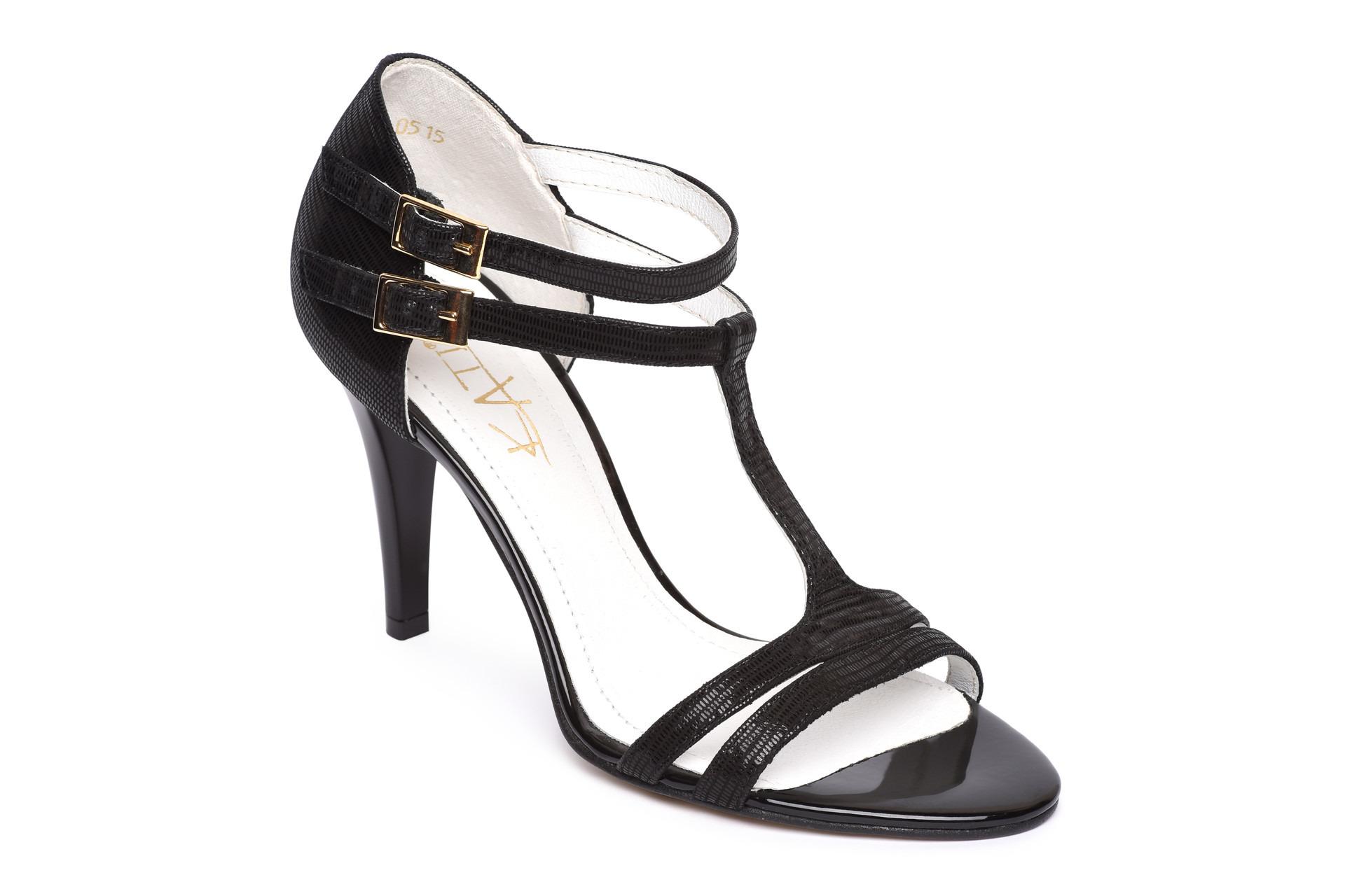 12ccb0d5b69f GALLERY SHOES - Sandále - Sandále čierne spoločenské s pevnou pätou KATI