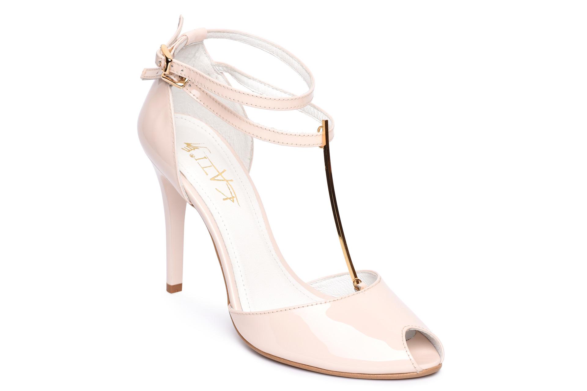 edcafb527c1a GALLERY SHOES - Sandále - Sandále púdrove lakové s pevnou pätou KATI