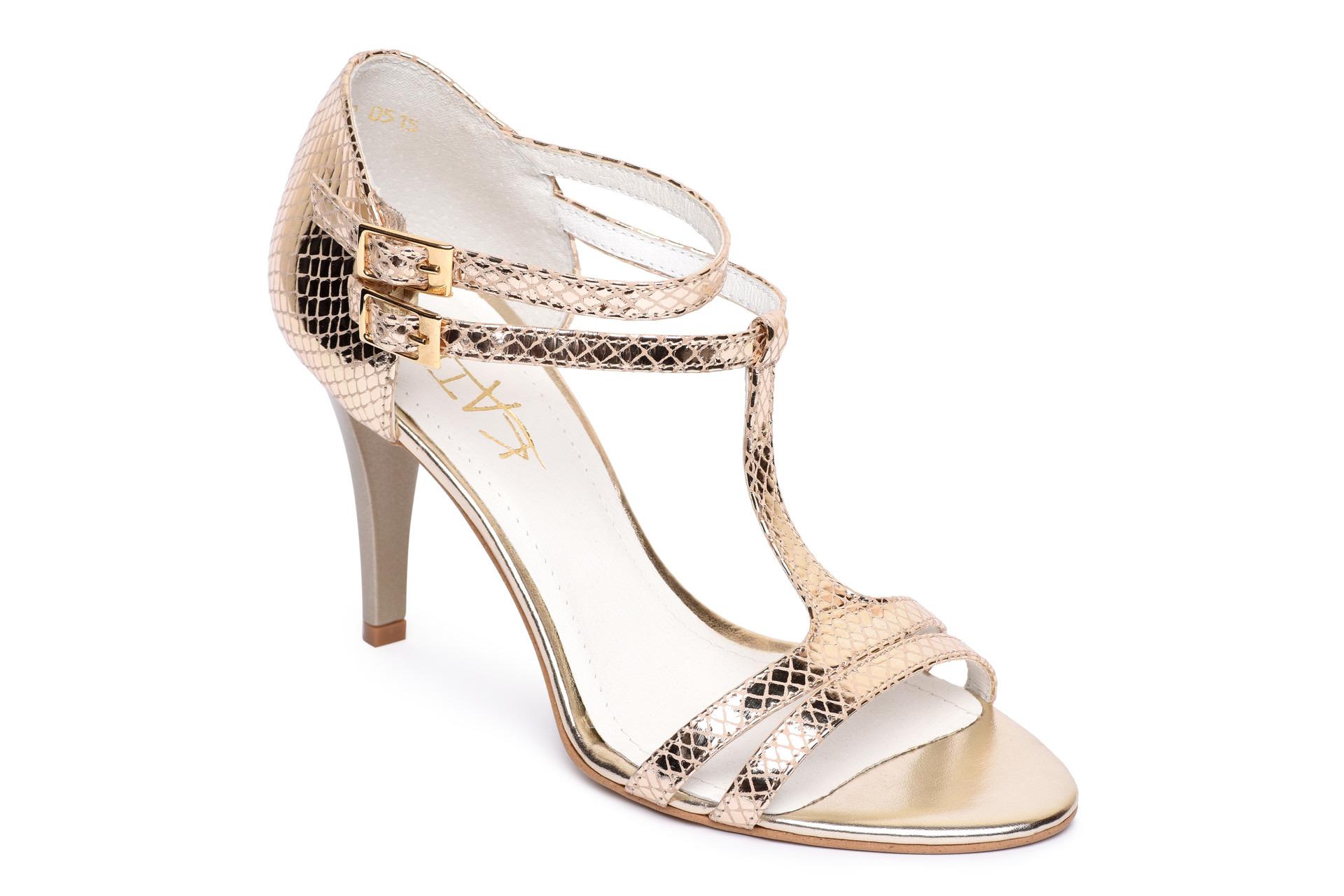 a90df07fe54ac Zlaté remnienkové sandále na opätku | GalleryShoes